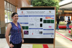 Student standing next to her poster