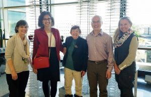 Participating on a tour of Wan-Ju Li's lab in April 2019 were, from the left: Ellen Leiferman, DVM, Jordana Lenon of the SCRMC, Gwen Plunkett, Wan-Ju Li, Ph.D., and Karen Plunkett.