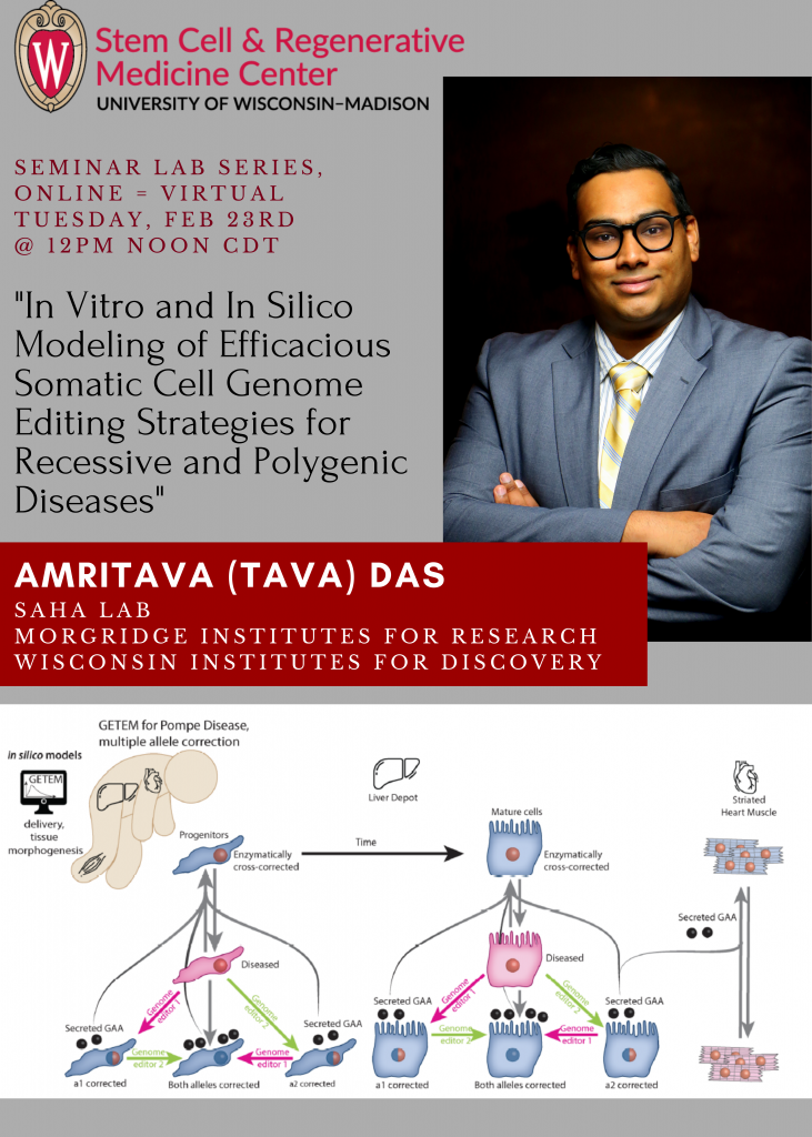 """SCRMC Seminar Lab Series, ONLINE Tuesday, Feb 23rd 2021 @ 12PM CT - Amritava (Tava) Das from the Saha Lab, Morgridge Institutes for Research, presents, """"In Vitro and In Silico Modeling of Efficacious Somatic Cell Genome Editing Strategies for Recessive and Polygenic Diseases"""""""